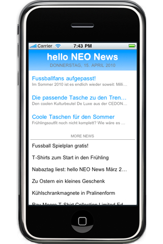 hello NEO Online Store iPhone App