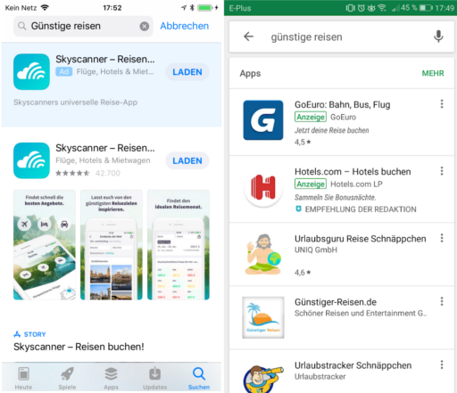 SERPS Apple App Store vs SERPS Google Play Store